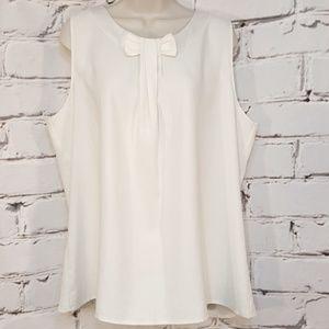 Ann Taylor Sleeveless Bow Neck White Blouse XL